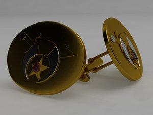 gold cufflinks 3d obj