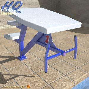 pool starting block 02 3d model