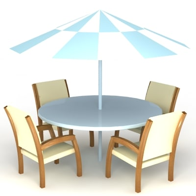 garden table chair set high quality furniture 3d model
