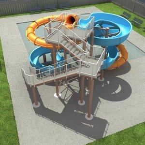 water park slide 3d model