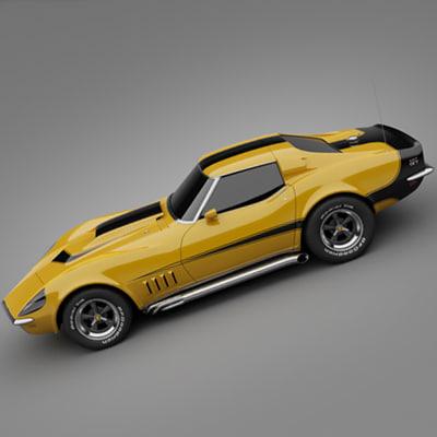 1969 baldwin corvette 3d model