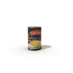 3d model of tinned seafood chowder soup