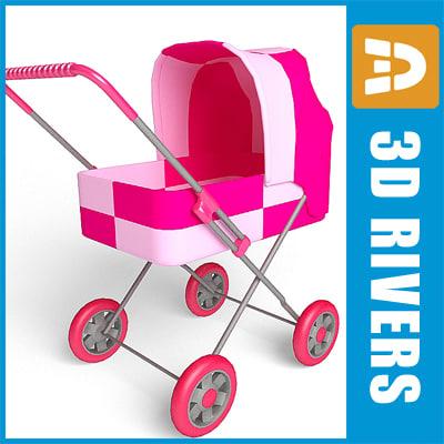 3d pink toy stroller model