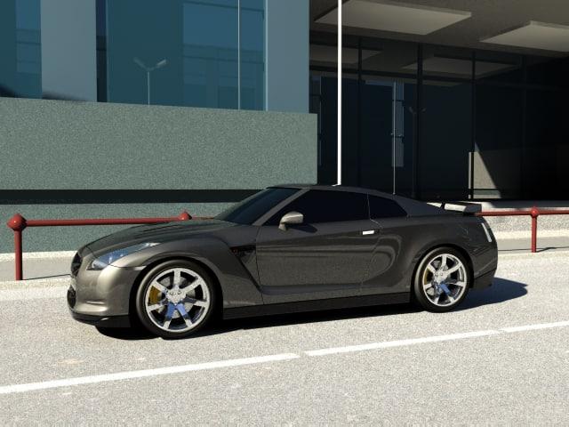 3d model of nissan gtr 2009