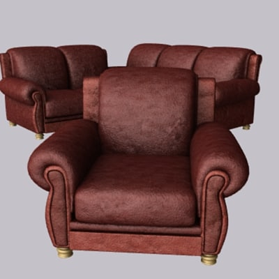 3 leather sofa suite 3d lwo