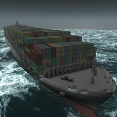 containers ship oocl los angeles 3d model