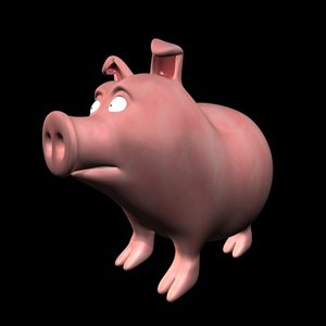 cartoon pig c4d