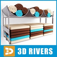 3d salon shelf towels model
