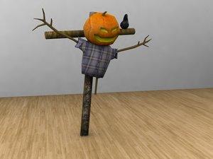 3d scarcrow halloween model
