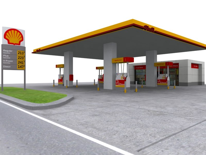 shell gas station 3d max
