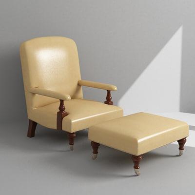 armchair ottoman 3d model