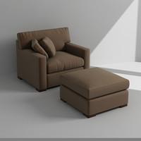 armchair footrest 3d max