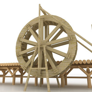 giant water wheel 3d model