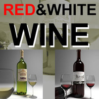 wine glass red white 3d max