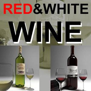 wine glass red white 3d max
