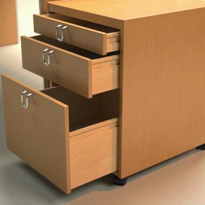 3d desk pedestal model