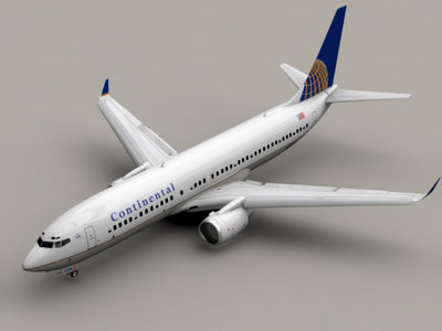 b 737-800 continental airlines 3d model