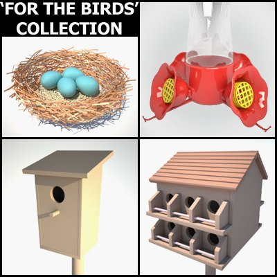 bird houses feeder 3d 3ds