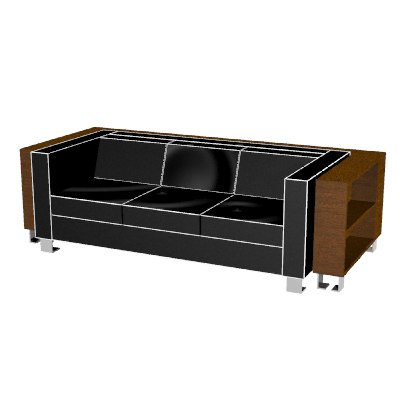 rhino leather sofa wrap-around bookshelf