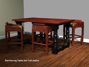3d 3ds gathering table stools