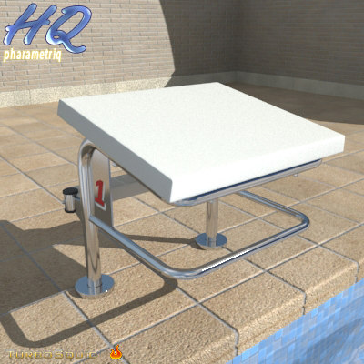 pool starting block 05 3d obj