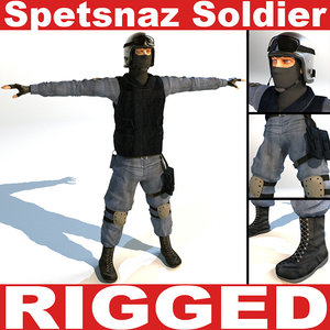 3d russian spetsnaz soldier rigged model
