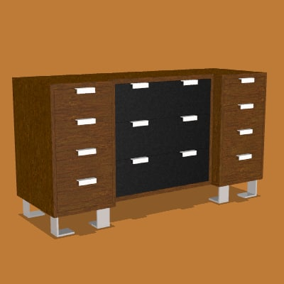 3d model contemporary wood leather dresser
