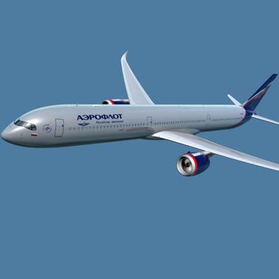 a350-1000 aeroflot 3d 3ds