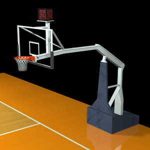 3ds max basketball goal adjustable clock
