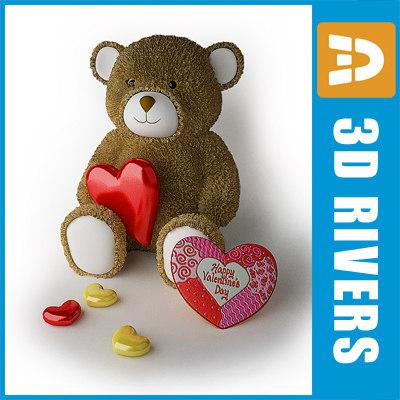 3d model of valentine bear heart