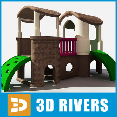 3d children castle shaped slide