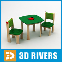 toy tea table chairs 3d model