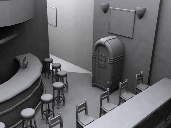 nightclub pub dancehall 3d model