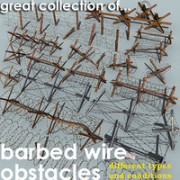 3d barbed wire obstacles model