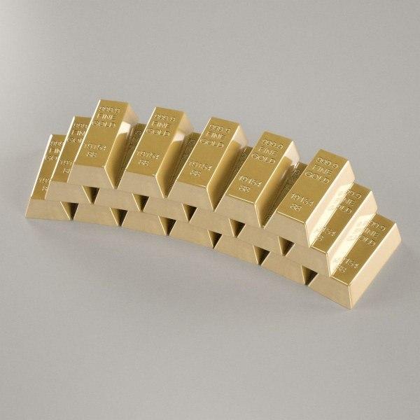 3d golden bars