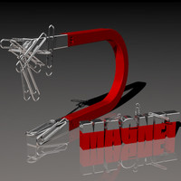 Magnet Scene With Paper Clips 3D Model