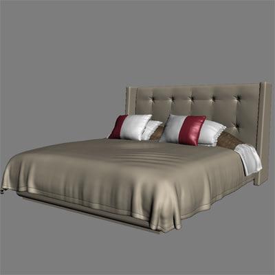 highend bed fluffy 3d model