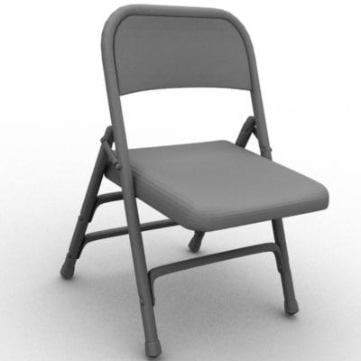 3d model metal folding chair