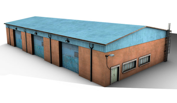 3d model old shed warehouse