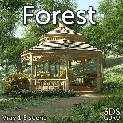 forest gazebo tree 3d model