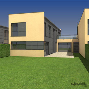 modular attached house 3d max