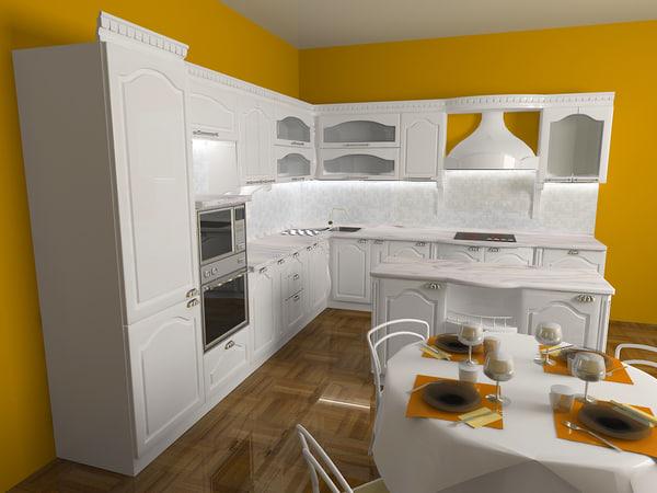classic kitchen 3d 3ds