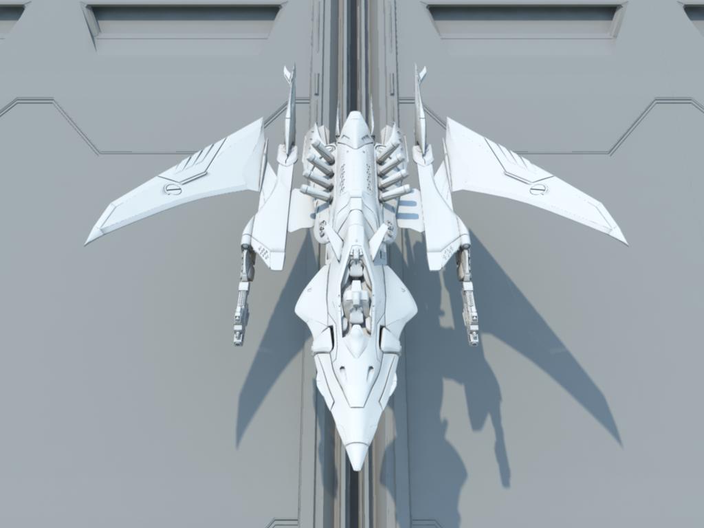 futuristic space fighter xcalon 3d obj