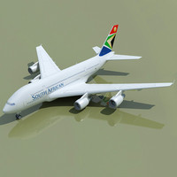 airbus a380 south african 3d model