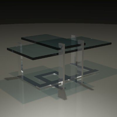 3d model contemporary metal glass table