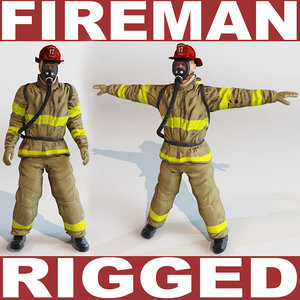 fireman rigged 3d model