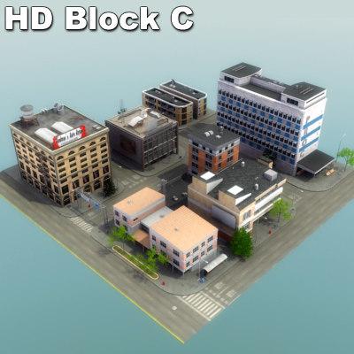 modular city block buildings 3d model