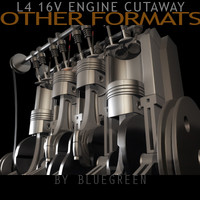 cylinder engine cutaway cuts 3d model