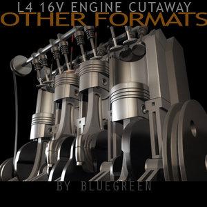 cylinder engine cutaway cuts 3d model