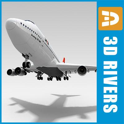b-747 passenger aircraft 3d model